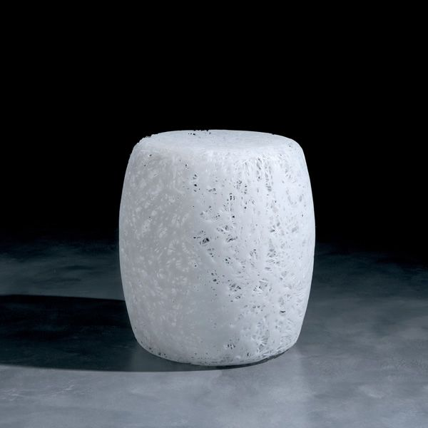 Design pouf made of plastic material, white version