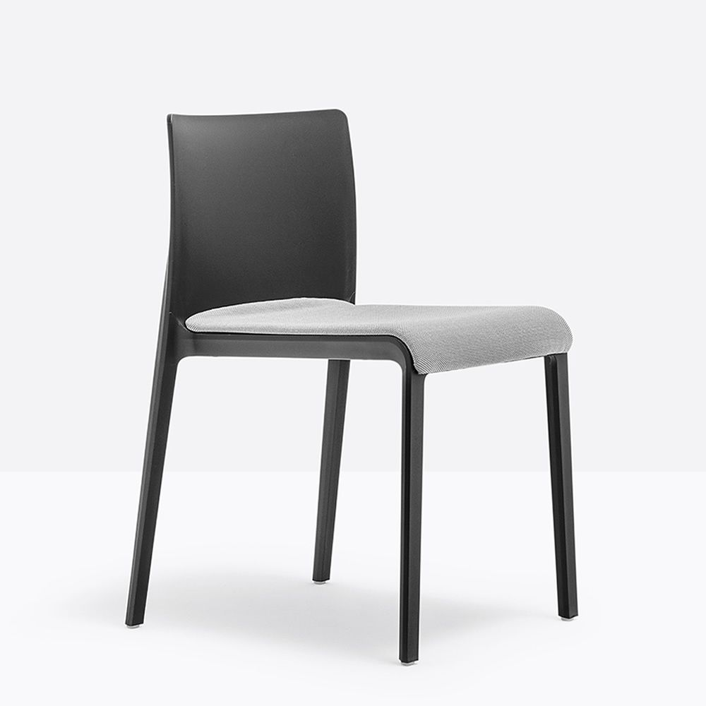 Black polyethylene chair with padded seat in gray fabric