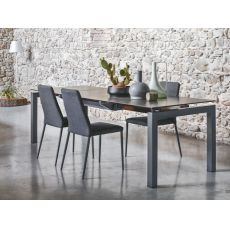 CB4011 Airport - Connubia - Calligaris metal table, glass or ceramic top, 130 x 90 cm extendable