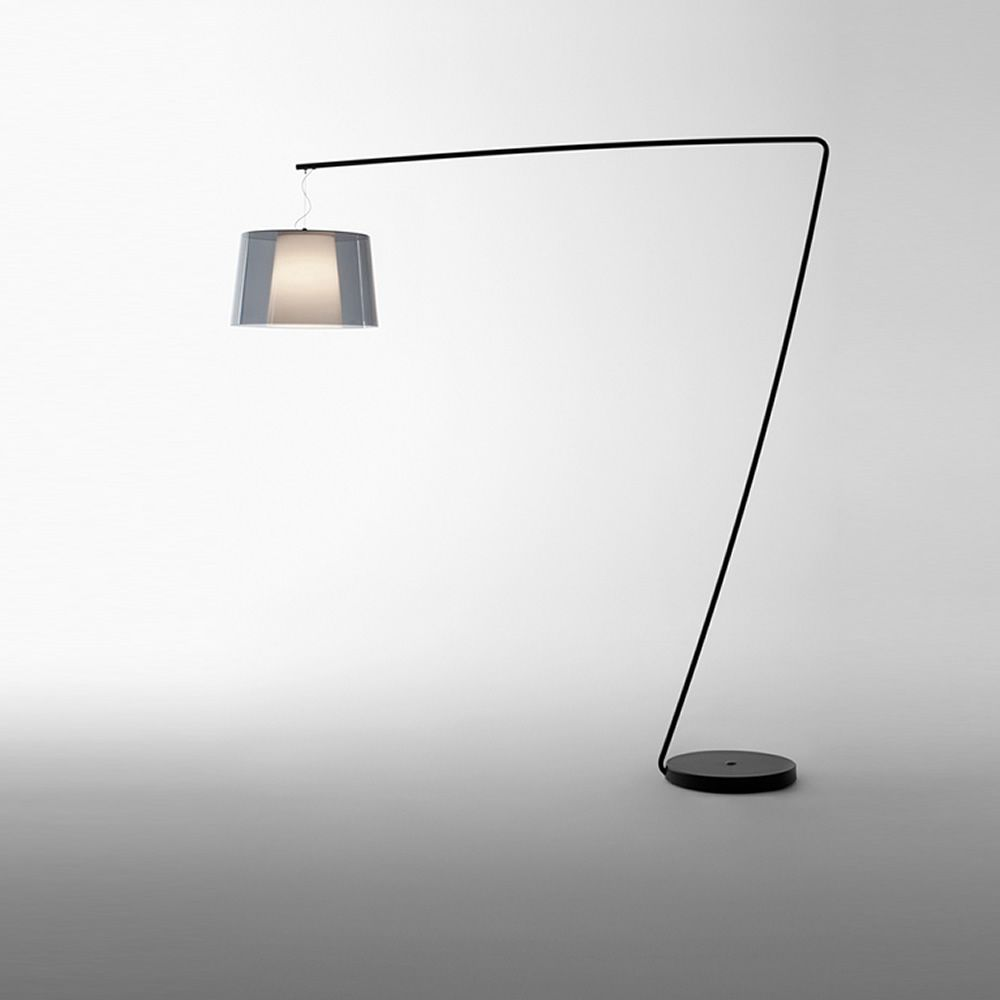 Floor lamp in black varnished metal, with smoked grey transparent methacrylate diffuser