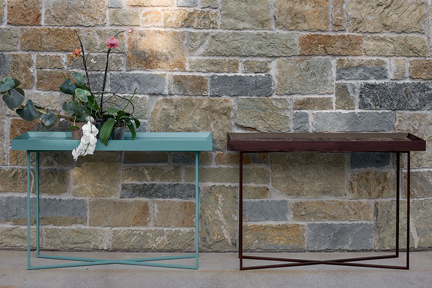 Console with metal legs in rust colour, external structure of the top in veneered wood in heat treated oak, built in top in Emperador dark marble, matched with Slash-C console (veneered wooden top)