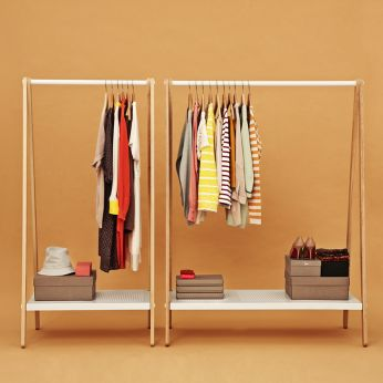 Toj - Clothes rack made of ash wood, shelf and clothes bar closet in white varnished steel, two different sizes