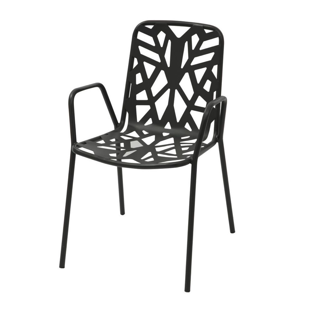 Stackable metal chair with armrest, for garden, anthracite grey colour version