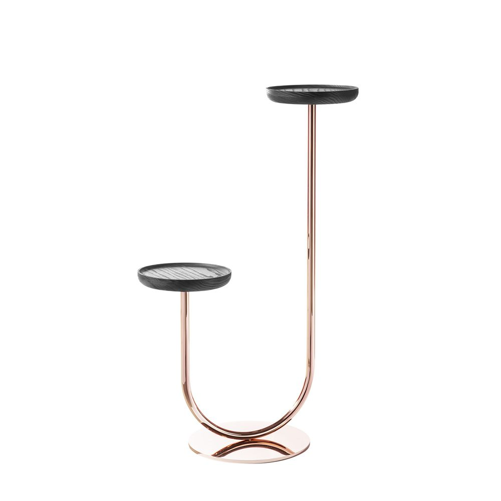 Flower pot with copper varnished metal structure and black ash wooden trays
