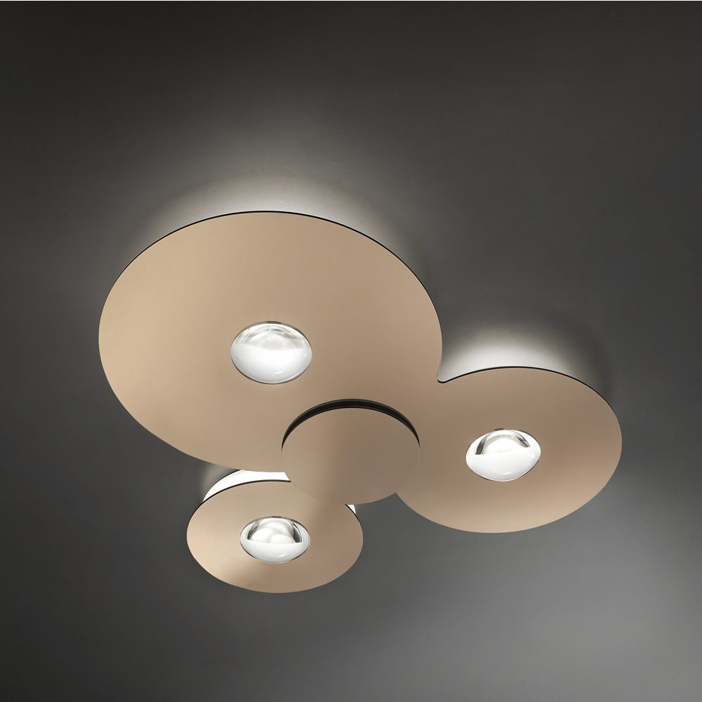 Ceiling lamp made of metal and plexiglass in glossy copper colour (size: L)