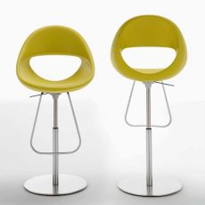 Lucky stool - Tonon metal stool, with polyurethane seat, swivel and adjustable in height