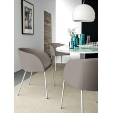CB1533 Rosie - Connubia Calligaris armchair in metal, padded and upholstered with imitation leather covered