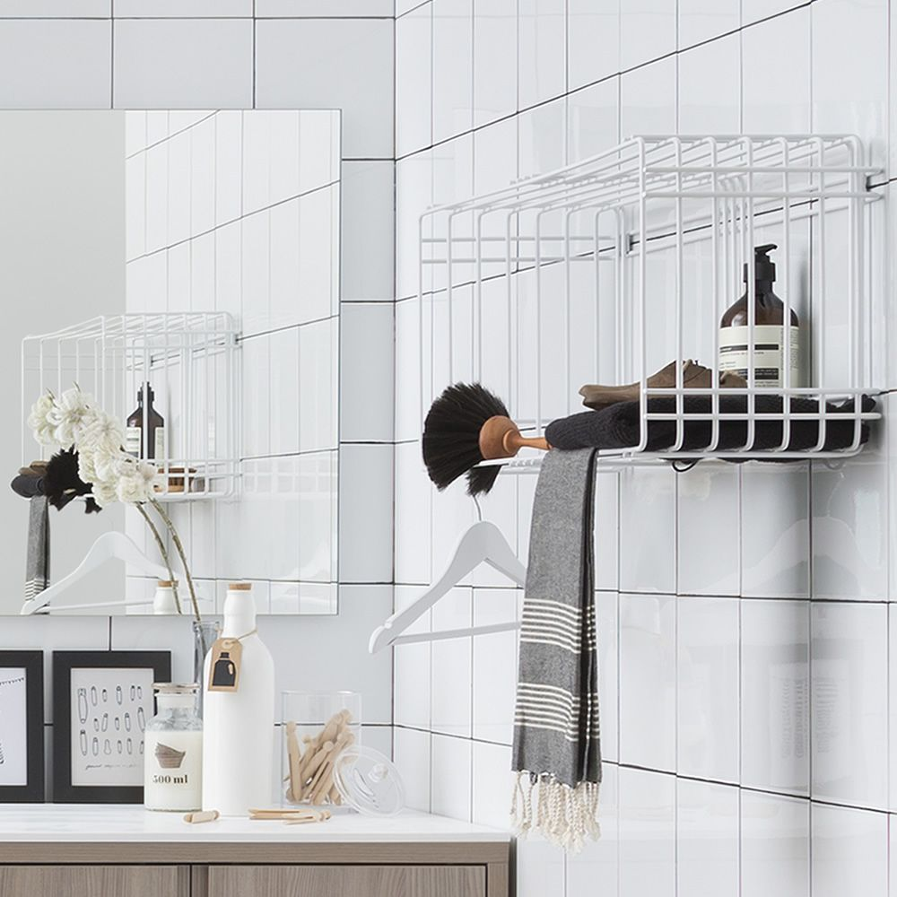 Drying rack wall unit 80 x 31 cm (S-small), white colour