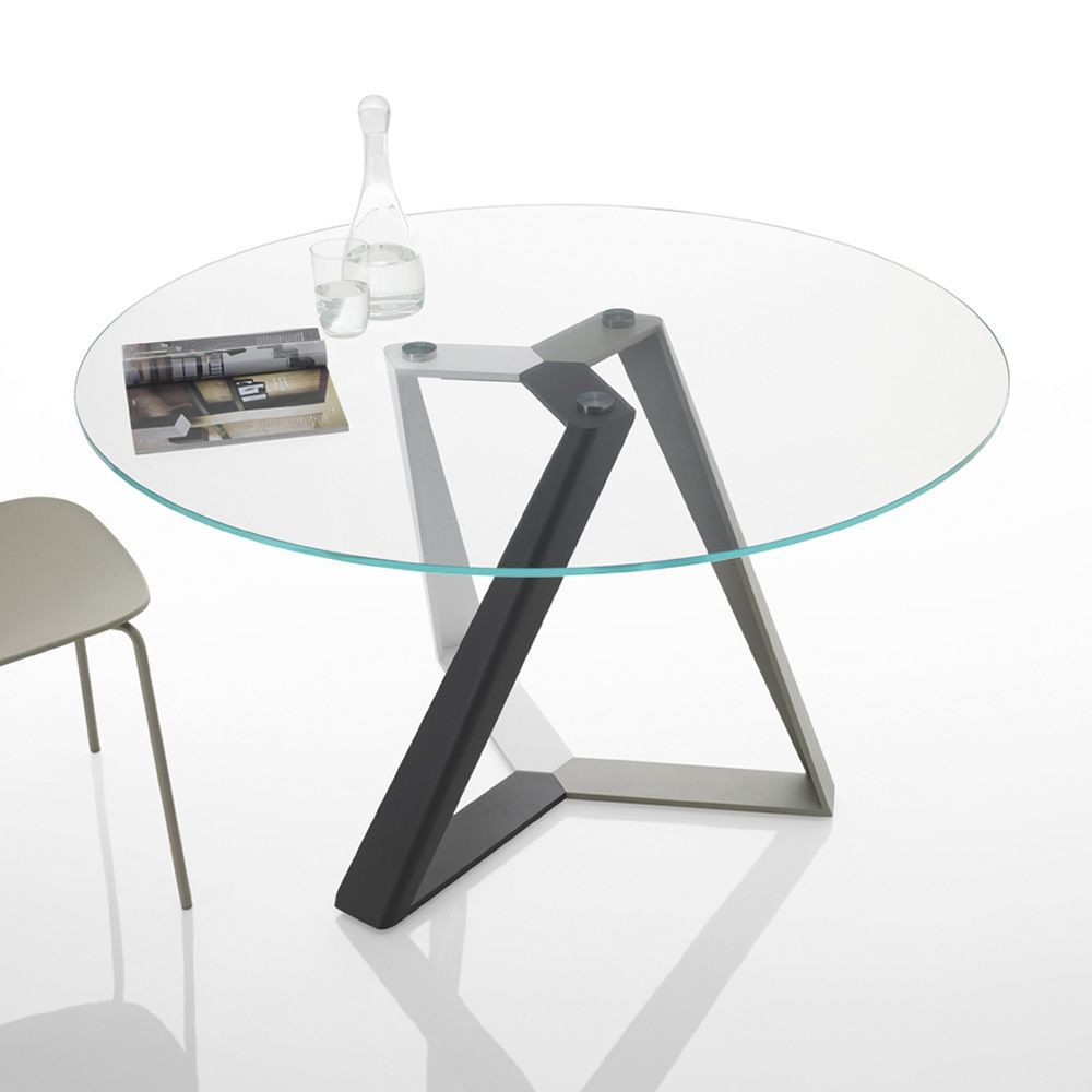 Table with pedestral in multicolored lacquer (white, sand, anthracite grey) and transparent glass top