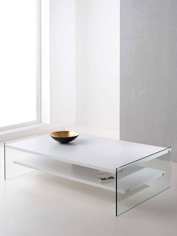 Rectangular coffee table with mat white laminated top