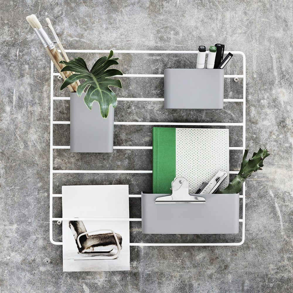 Wall-mounted workstation organizer, in white varnished metal and grey plastic