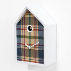 Tartan - Wall clock, made of wood and tartan fabric, available in several colours