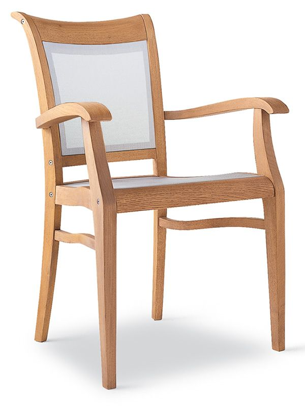 Garden chair with armrests, in robinia wood