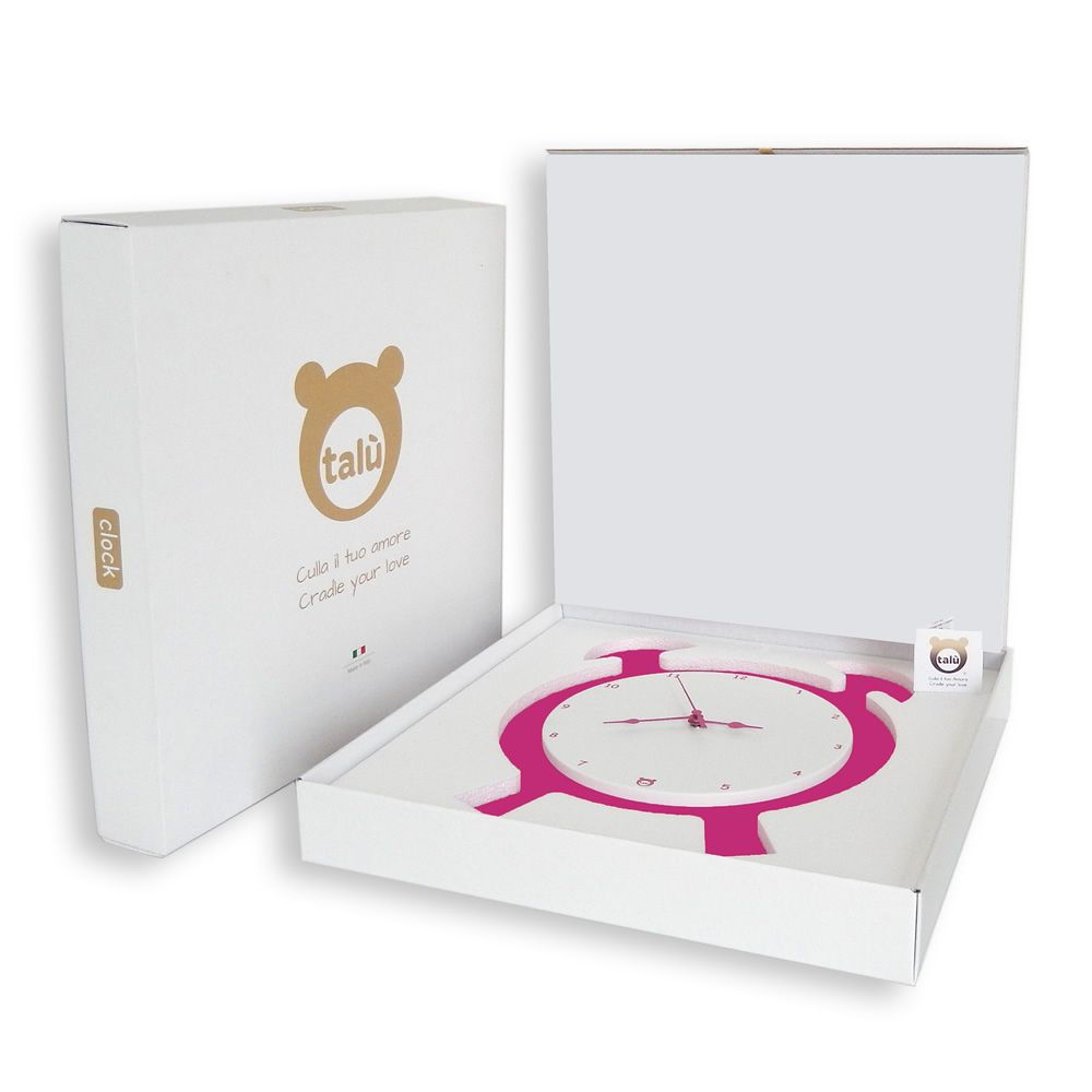 Wall clock in fuchsia lacquered MDF wood, with its gift-packaging