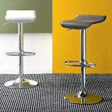 CB1340 Mambo - Connubia - Calligaris swivel metal stool, adjustable in height, bonded leather seat