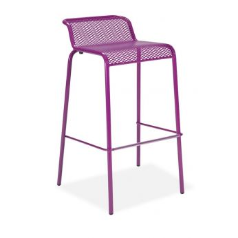 Nassa SG - Stool with streched grid, stackable, outdoor and indoor, purple varnished