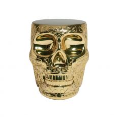 Mexico Metal - Skull shaped Qeeboo sidetable - stool, in polyethylene with metal finish, heigh 45 cm, stackable