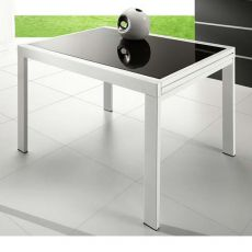 VR120 - Extendable metal table with glass top 120 x 90 cm