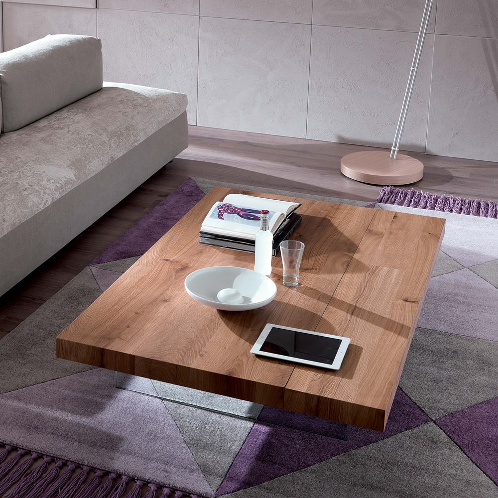 Trasformable coffee table with natural ancient oak top