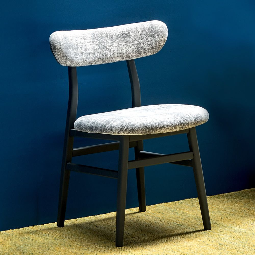 Chair in black lacquered wood, with fabric covering