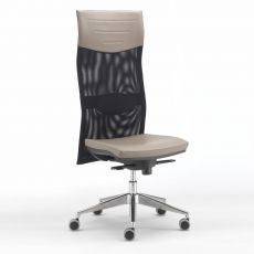 ML496 - Office task chair with padded seat, high backrest in net with headrest, lombar support