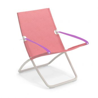 Snooze - White varnished metal beach chair, net in raspberry colour