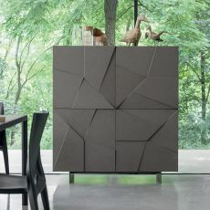 Concrete-L - Dall'Agnese living room furniture made of metal and veneered wood, four doors, different colours available