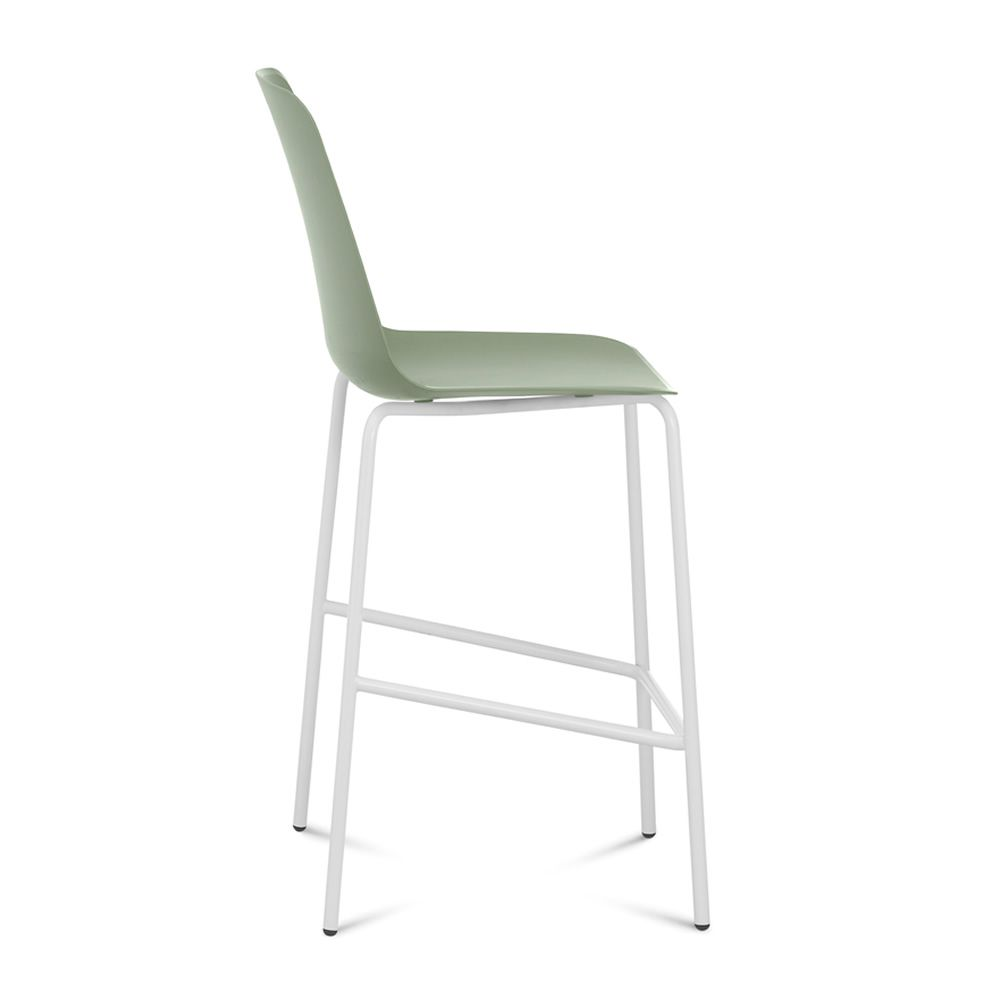 Fixed stool made of white varnished metal with polypropylene seat in sage green colour