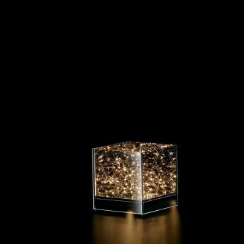 Shine - Glass decoration with LED lights inside, Cube S