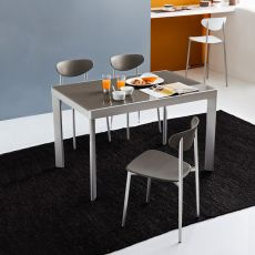CB4731 Plano - Connubia - Calligaris extendable metal table, with glass top, 120 x 80 cm