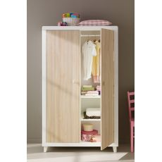 Anouk A - Wooden wardrobe Pali with 2 shelves and 2 hanging rods