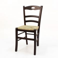 125 - Country style chair in wood, different colors available, with seat in wood, straw or different types of fabric