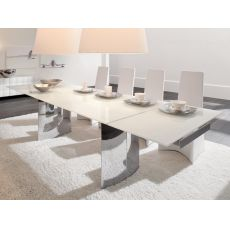 Manhattan-A 8051 - Tonin Casa extendable metal table with glass top, different sizes and finishes available