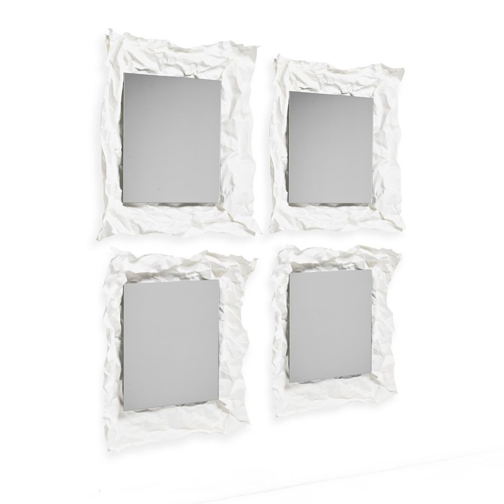 Wall mirror, with white felt frame (Size: Small)