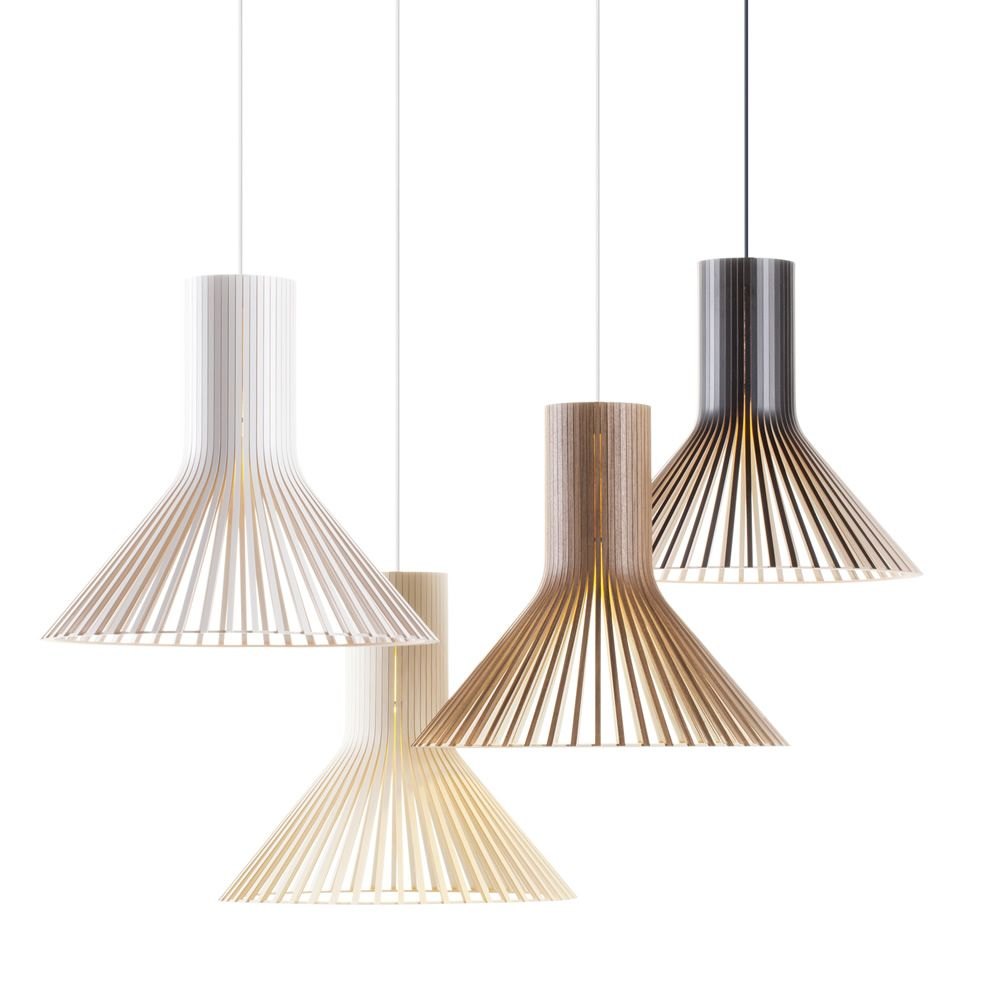 Suspension lamp in wood