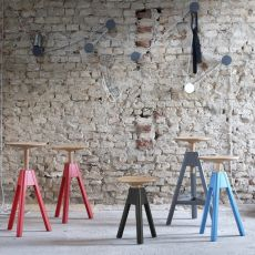 Vitos - Miniforms stool in wood, adjustable in height, available in different dimensions