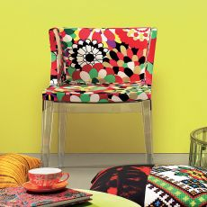Mademoiselle à la mode - Design armchair Kartell, with polycarbonate frame and upholstered seat, covered with Missoni and Moschino tissues