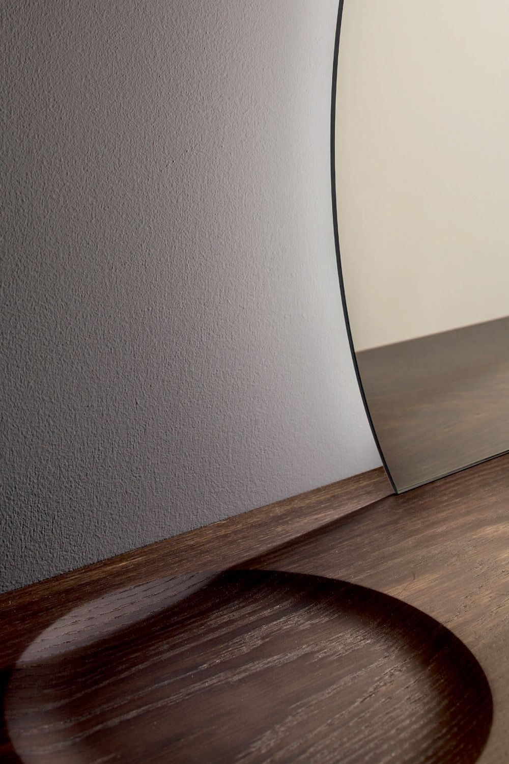 Mirror with wooden shelf, detail