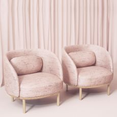 Fuuga P - Armchair with wooden legs, covering in fabric