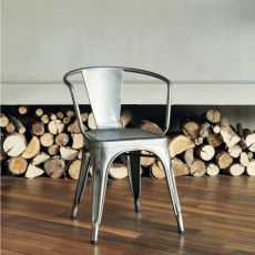A97 Armchair - Chaise design Tolix en métal, empilable