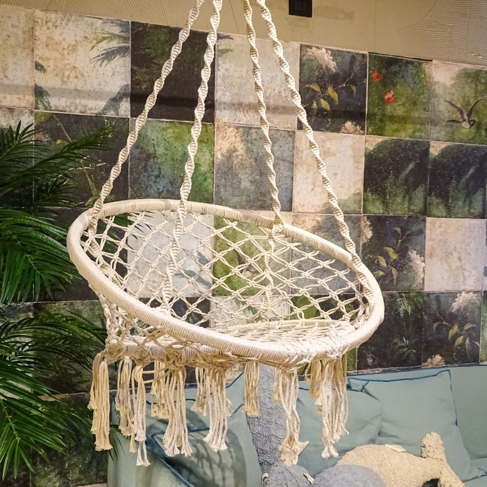 Swing chair in woven fabric, for outdoors