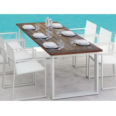 Essence - T - Garden table in aluminium and teak, 220x92 cm