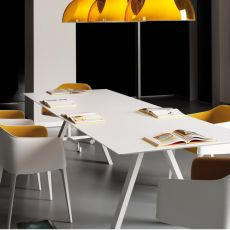 Arki-Table - Pedrali design table, fixed, in metal, with rectangular top in laminate, available in different dimensions