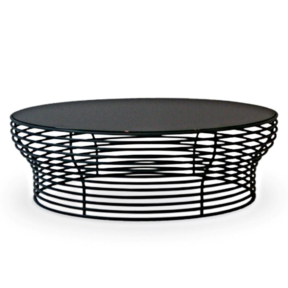 Bonaldo coffee table with anthracite grey metal base and black glass tabletop