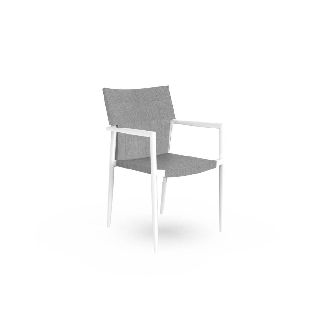 Talenti garden armchair, with white frame and seat in silver colour