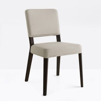 CB1963-C Aurora - Modern chair in wengè stained wood, seat covered with sand Berna fabric