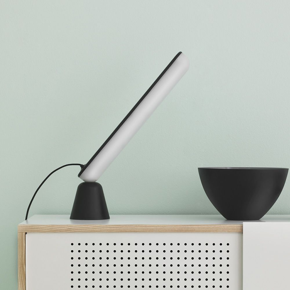 LED table lamp with base in black plastic material, adjustable with magnet