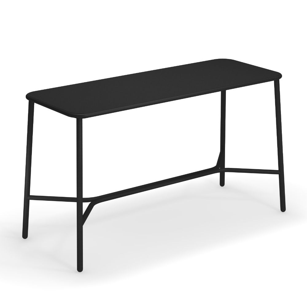 High table for outdoor, in black colour, 180 x 70 cm