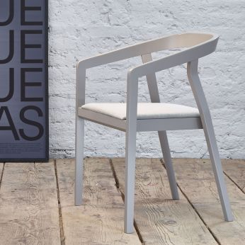 One - Design chair in grey lacquered beech wood, with padded seat