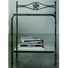 Albatros D - Iron bedside table with glass tops, in several colours